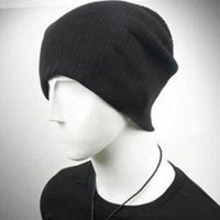 Black Knitted Wool Cap