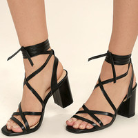 Oni Black Lace-Up Heels