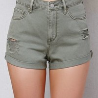 PacSun Cactus Ripped High Rise Cuffed Denim Shorts at PacSun.com