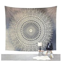 Dremisland Indian Wall Decor Hippie Tapestries Bohemian Mandala Tapestry Wall Hanging Throw (M, GREY FLOWER)