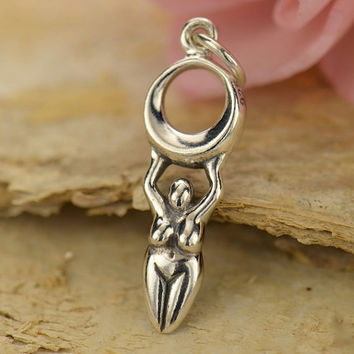 NEW - Moon Goddess Necklace - Solid 925 Sterling Silver Charm - Free Domestic Shipping
