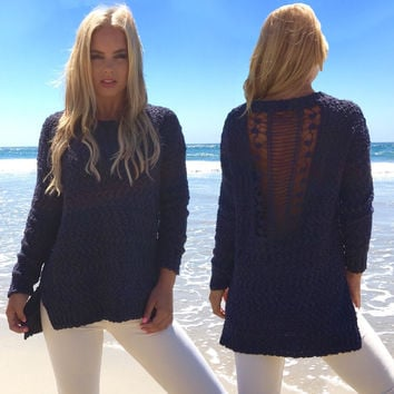 Angelic Knit Sweater In Navy