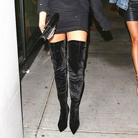 Thick with high knee-high boots stretch boots with velvet boots Black
