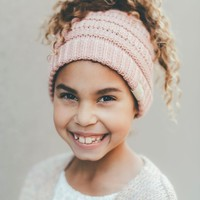 Kids Messy Bun Beanie Hat - Pink