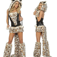Sexy Leopard Halloween Cosplay Costumes-for-role-playing Short Carnival Costume Woman Adult Animals Hooded Dress With Tail WL77