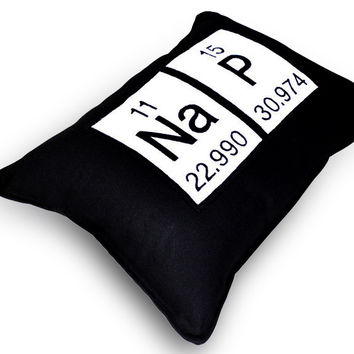 Nap Periodic Table of Elements Throw Pillow