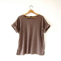 vintage slouchy tee shirt. textured cocoa brown shirt. minimalist cotton top. loose fit tshirt. oversized short sleeve shirt.