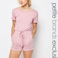 One Day Petite   One Day Petite Short Sleeve Drawstring Romper at ASOS