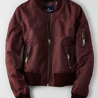 AEO Shrunken Bomber Jacket, Brown