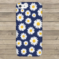 Navy Floral Daisy Cell Phone Case iPhone 3 3GS 4 4S 5 5S 5C Samsung Galaxy S2 S3 S4 Mini S5 Sony Xperia Z Blackberry Z10 Curve Bold HTC One