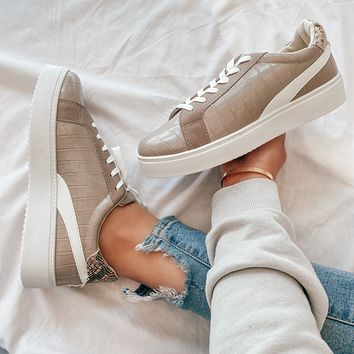 Kaley Snake Sneakers (Grey Taupe)