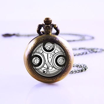 Doctor Who Timelord Seal Necklace, Dr Who pocket watch necklace, vintage watch jewelry , women wedding watch necklace ,birthday watch gift