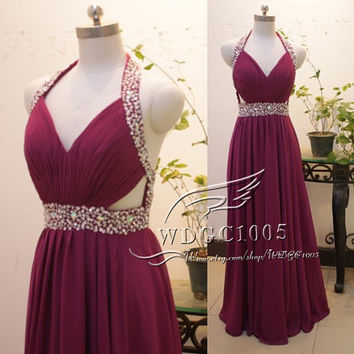Sexy V-neck prom dress purple bead formal evening dress, long chiffon graduation gown party dress Burgundy pageant gown, backless prom dress