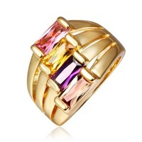 18K Yellow Gold Plated Multi-color Square Swarovski Elements Crystals Ring, Size 8