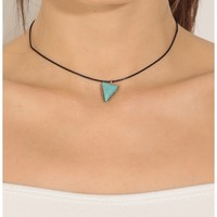 Necklaces > Cord And Stone Geometric Choker In Turquoise