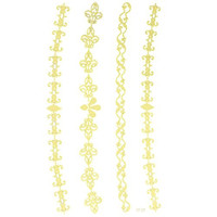 """Fashionable and wonderful tattoo product dimension 6.69""""""""x3.74"""" Golden Gold Jewelry desgin fake and realistic tattoo stickers"""
