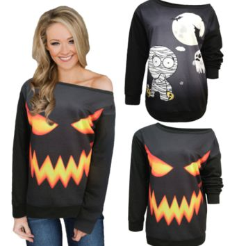 Halloween Fashion Strapless Long Sleeve Women's Top  [4258739552353]