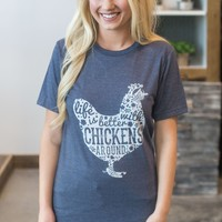 Life With Chickens Tee - Navy