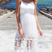 CROCHET SOLID WHITE MAXI DRESS
