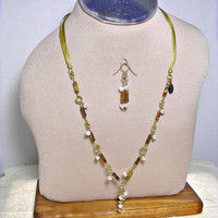 Yellow Ribbon & Tiger Eye Necklace with Freshwater Pearl Charms and Pearl Drop Pendant