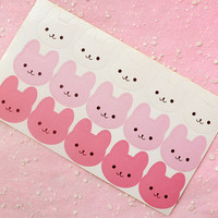 Bunny / Rabbit Sticker Set (Pink & White / 15pcs) Seal Sticker - Scrapbooking Packaging Party Gift Wrap Diary Deco Collage Home Decor S132