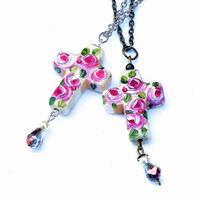 Cross Pendant Necklace Hand Painted Roses Spiritual Religious Jewelry