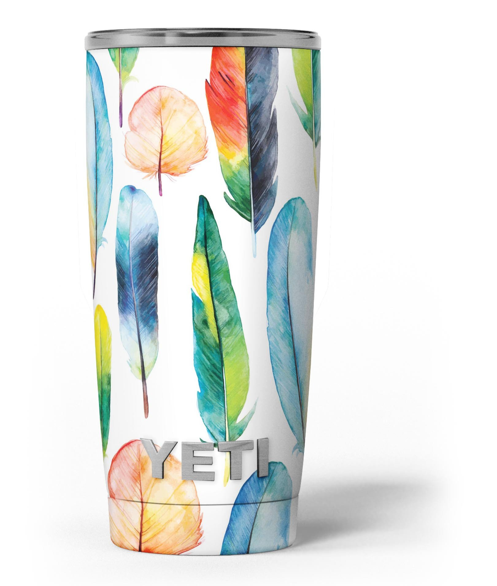 Image of Bright Water Color Painted Feather - Skin Decal Vinyl Wrap Kit compatible with the Yeti Rambler Cooler Tumbler Cups