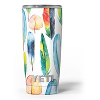 Bright Water Color Painted Feather - Skin Decal Vinyl Wrap Kit compatible with the Yeti Rambler Cooler Tumbler Cups
