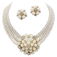 Statement Look Cream Pearl Cluster Bridal Necklace Set Clip on Earring Gold Tone Z2