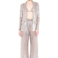 Single Brested Sequins Jacket And Pant Suit
