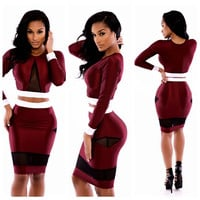 Wine Red Long Sleeve Cropped Top and Bodycon Skirt