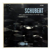 """A.F. Arnold record album design, c.1954. The Amsterdam Piano Quintet """"Schubert: Quintet in A Major for Piano and Strings"""" LP"""