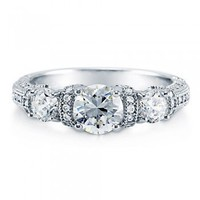 Round Cut Cubic Zirconia CZ 925 Sterling Silver 3-Stone Ring 1.34 Ct #r528-cl