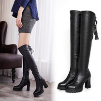 Women autumn winter bandage leather thigh high Boots a13450
