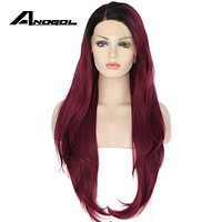 Anogol Synthetic Lace Front Wig Long Natural Wave Wine Red Glueless Heat Resistant Fiber Hairline Hair Women Wigs Black Roots