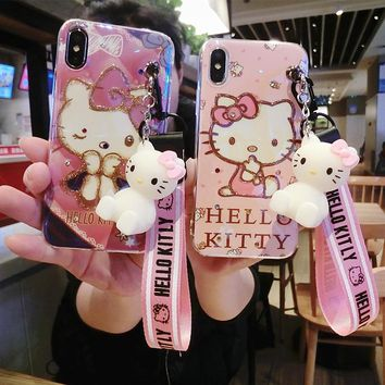 Bling Hello kitty case For iPhone X , Cute KT Soft phone back cover For iPhone 8 8plus 7 7plus 6 6S 6plus + toy stander +Strap