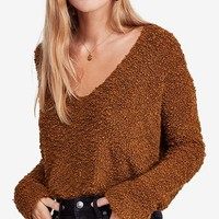 Free People Popcorn Fuzzy V-Neck Sweater Juniors - Sweaters - Macy's