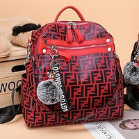 Wearwinds FENDI Popular Women Men Casual Shoulder Bag Bookbag Backpack Daypack Bag Red
