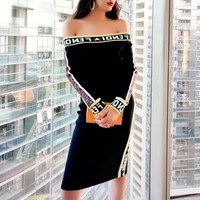 fendi women fashion multicolor letter long sleeve off shoulder bodycon mini dress