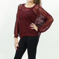 Knitted fishnet mesh batwing sweater top Burgundy