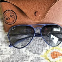 Cool Opaque Blue Rayban aviator sunglasses with case
