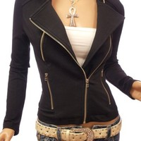 PattyBoutik Black Motorcycle Biker Zip Front Jacket