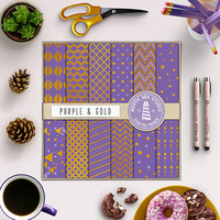 Gold Digital Paper Purple And Gold Foil Scrapbook Paper Pack Invitation Cards Stationery 12X12 In Purple Printable Background Gold Patterns