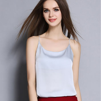 2016 new summer Sexy Faux silk women Strappy tank top deep v neck camisole sleeveless Casual Smooth Bottoming Vest tops