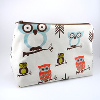 XL Natural Woodland Owl Makeup Bag, Lined, Gadget Case, Under 15, Pencil Case, Medium, Zippered, Cosmetic Case, For Her