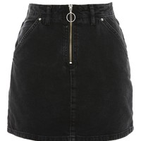 MOTO Half Zip Denim Skirt | Topshop