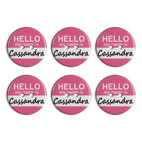 Cassandra Hello My Name Is Plastic Resin Button Set of 6