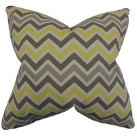 The Pillow Collection P18-PP-ZOOMZOOM-SUNNY-NATURAL- Howel Yellow 18 x 18 Zigzag Throw Pillow
