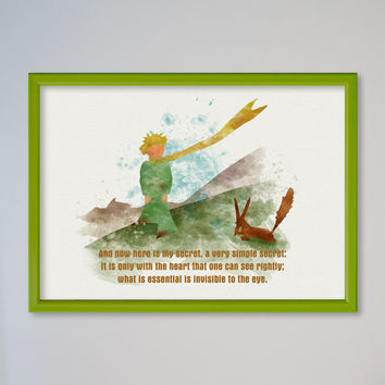 The Little Prince Poster Fox Quote Le Petit Prince Watercolor Art Giclee Print fennec desert sand fox