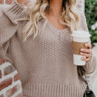 Explosion models new Ebay autumn and winter women's loose knit V-neck sweater